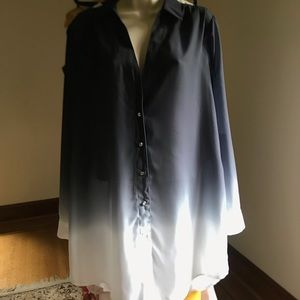 Ombré black grey and white button up shirt